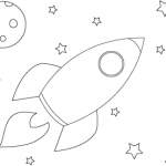 Rocket in Space Coloring Sheet