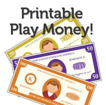 More Printable Play Money
