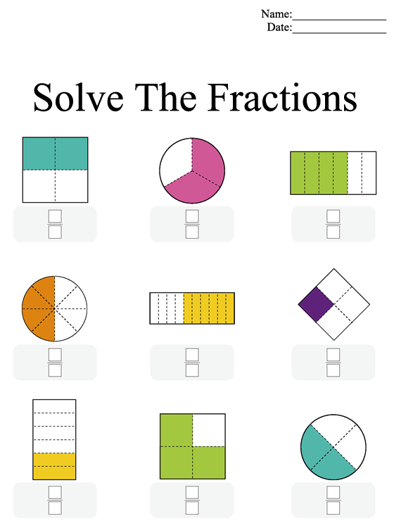 Printable Fractions Worksheet