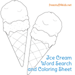 Ice Cream Word Search and Coloring Sheet