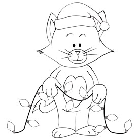 Free Printable Christmas Kitty Coloring Sheet