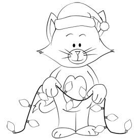 Free Printable Christmas Kitty Coloring Sheet